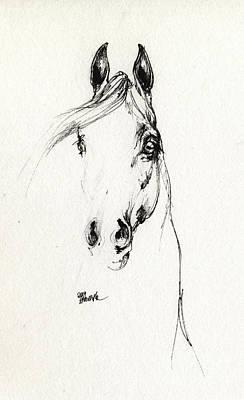 Equine Art Drawing - Arabian Horse Sketch 2014 05 29d by Angel  Tarantella