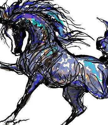 Digital Art - Arabian In Blue by Stacey Mayer