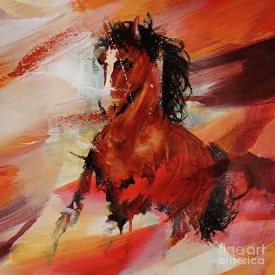 Painting - Arabian Running Horse Art 021 by Gull G