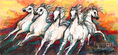 Arabian Sunset Horses Art Print by Stacey Mayer