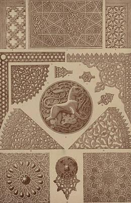 North Drawing - Arabian Textile Patterns by Arabian School