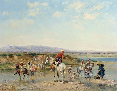 Horseback Painting - Arabs At An Oasis  by Georges Washington