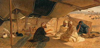 Goat Painting - Arabs In The Desert by Frederick Goodall
