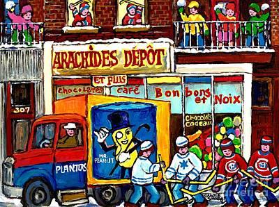Montreal Winter Scenes Painting - Arachides Depot Candy Shop Painting Rue De L'eglise Verdun Montreal Hockey Art Carole Spandau        by Carole Spandau