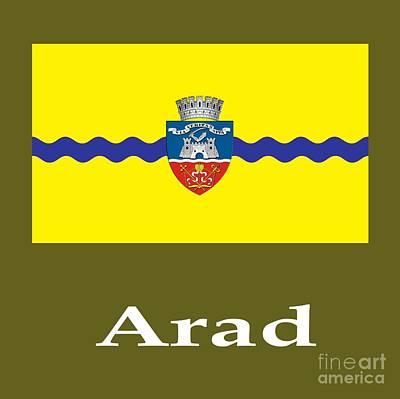 Romania Mixed Media - Arad, Romania Flag And Name by Frederick Holiday