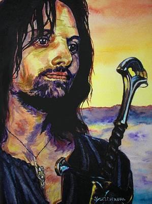 Aragorn Painting - Aragorn And Golden Sunset by Yulia Litvinova