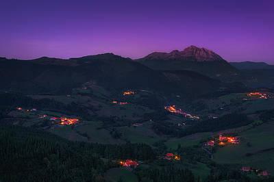 Photograph - Aramaio Valley At Night by Mikel Martinez de Osaba