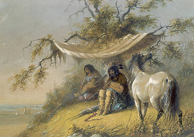 Arapaho Painting - Arapahos by Alfred Jacob Miller