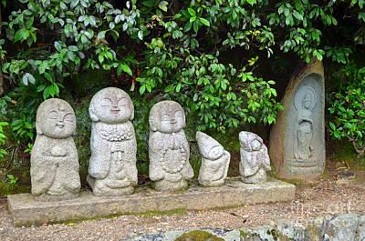 Digital Art - Arashiyama Street Buddah Statues by Eva Kaufman