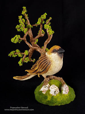Fantasy Creatures Painting - Arborescent Sparrow by Przemyslaw Stanuch