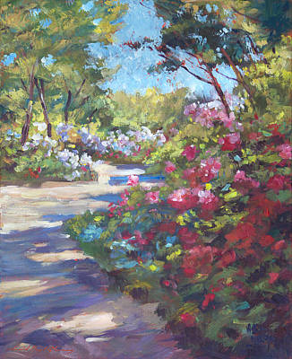 Pathways Painting - Arboretum Garden Path by David Lloyd Glover