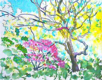 Mixed Media - Arboretum Trees by Mike Jory