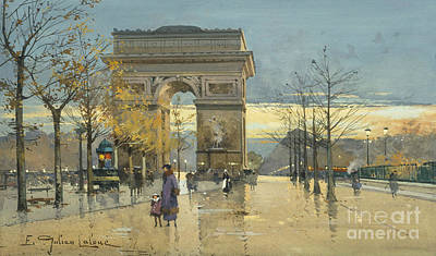 Street Lamps Drawing - Arc De Triomphe by Eugene Galien-Laloue