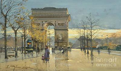 Evening Scenes Drawing - Arc De Triomphe by Eugene Galien-Laloue
