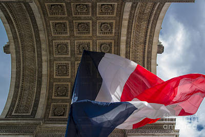 Photograph - Arc De Triomphe Flag - Paris by Brian Jannsen