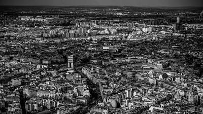Photograph - Arc De Triomphe From Eiffel Tower by Lawrence S Richardson Jr