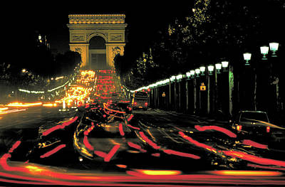 Photograph - Arc De Triomphe In Paris At Night by Carl Purcell