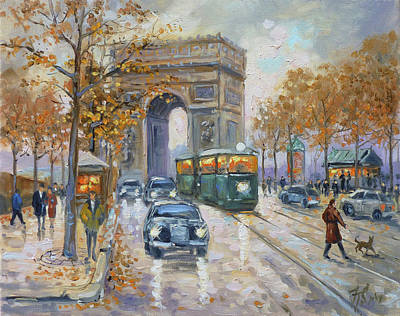 Dusk Painting - Arc De Triomphe, Paris by Irek Szelag