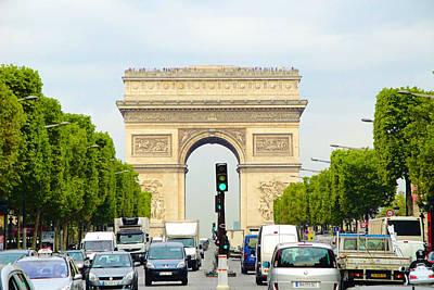 Photograph - Arc De Triomphe Rushhour by Robert Meyers-Lussier