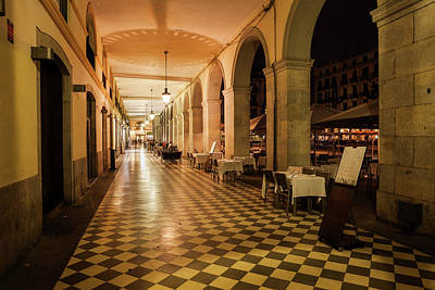 Photograph - Arcade At Independence Square In Girona At Night by Artur Bogacki