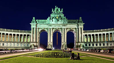 Photograph - Arcade Du Cinquantenaire At Night - Brussels by Barry O Carroll