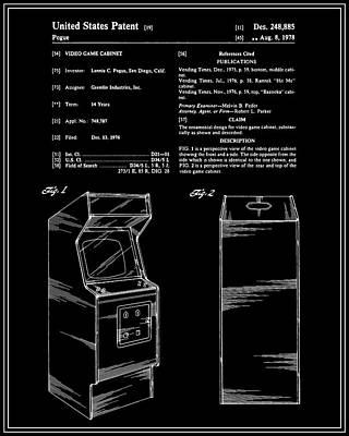 Vintage Video Game Digital Art - Arcade Game Patent - Black by Finlay McNevin