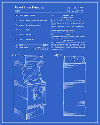 Vintage Video Game Digital Art - Arcade Game Patent - Blueprint by Finlay McNevin