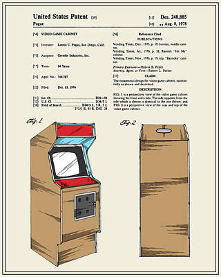 Vintage Video Game Digital Art - Arcade Game Patent by Finlay McNevin