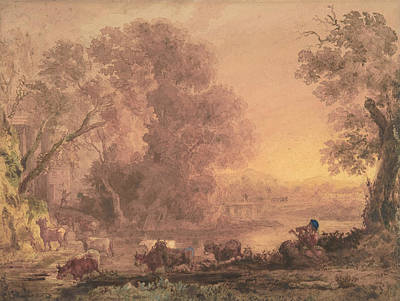 Drawing - Arcadian Landscape by George Barret