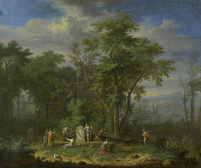Painting - Arcadian Landscape With A Ceremonial Sacrifice by Jan van Huysum