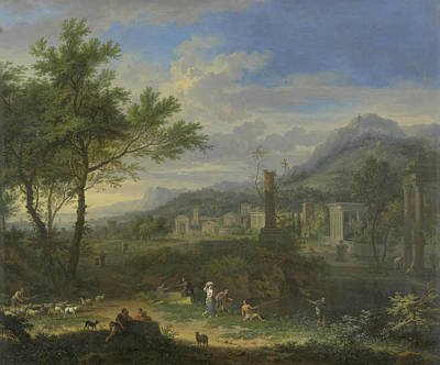 Painting - Arcadian Landscape With Fishermen by Jan van Huysum