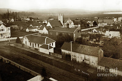 Photograph - Arcata View Of The Town Looking Se From Hill At 12th And G Street 1903 by California Views Mr Pat Hathaway Archives