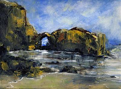 Arch At Pearl Beach Over Cast Art Print by Randy Sprout