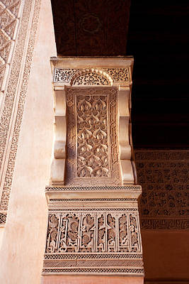 Madrasa Photograph - Arch Decorations In Ben Youssef Madrasa by Aivar Mikko