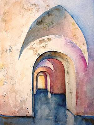 Painting - Arch Door Hallway Infinity by Carlin Blahnik CarlinArtWatercolor