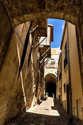 Pathway Digital Art - Sharp Shadows Passageway - Old Town Noto Sicily Italy by Georgia Mizuleva