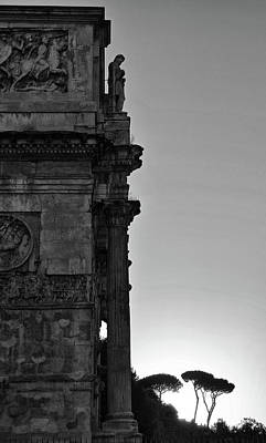 Photograph - Arch Of Constantine Arco Di Costantino And Stone Pine Trees At Sunset Rome Italy Bw by Shawn O'Brien