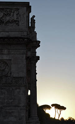 Photograph - Arch Of Constantine Arco Di Costantino And Stone Pine Trees At Sunset Rome Italy by Shawn O'Brien