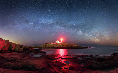 Arch Over Nubble - Panorama Art Print by Michael Blanchette