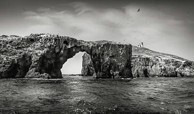 Photograph - Arch Rock And Lighthouse In Black And White by Endre Balogh