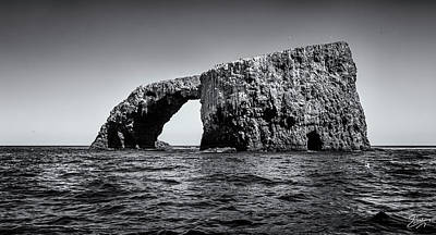 Art Print featuring the photograph Arch Rock Three In Black And White by Endre Balogh