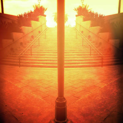Photograph - Arch Steps And Light Pole Brilliant Sunrise by YoPedro
