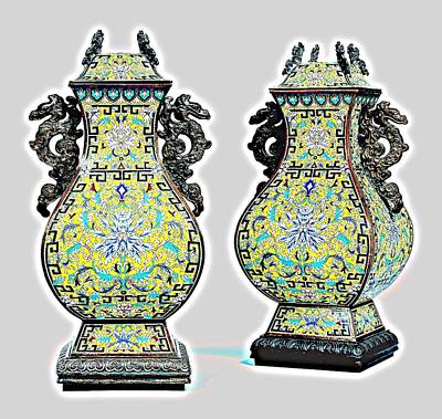 Eastern Painting - archaistic cloisonneenamel vases and covers China 2 by Celestial Images