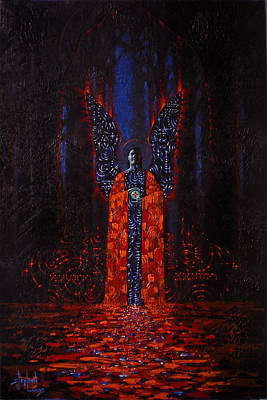 Archangel Evokes Through Nights Womb Art Print by Stephen Lucas