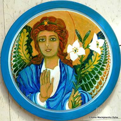 Polish Folk Art Painting - Archangel Gabriel by Anna Folkartanna Maciejewska-Dyba