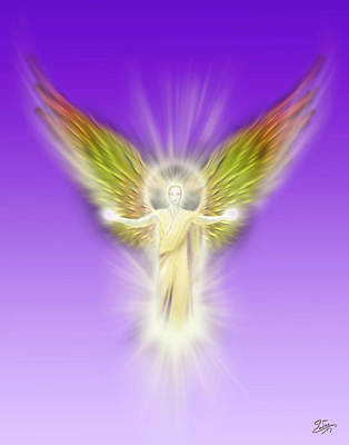 Digital Art - Archangel Gabriel - Pastel by Endre Balogh