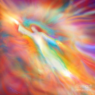 Angels Art Painting - Archangel Jophiel Illuminating The Ethers by Glenyss Bourne