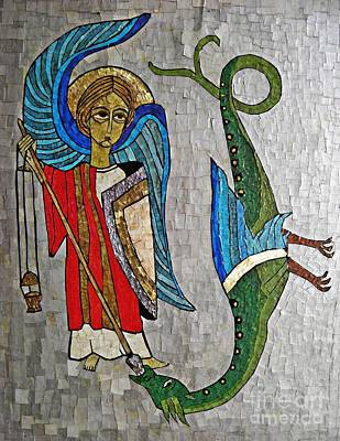 Orthodox Icon Mixed Media - Archangel Michael And The Dragon    by Sarah Loft