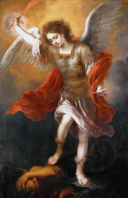 Archangel Michael Hurls The Devil Into The Abyss Art Print