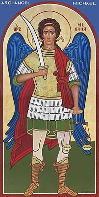Greek Icon Painting - Archangel Michael by Michael Courey